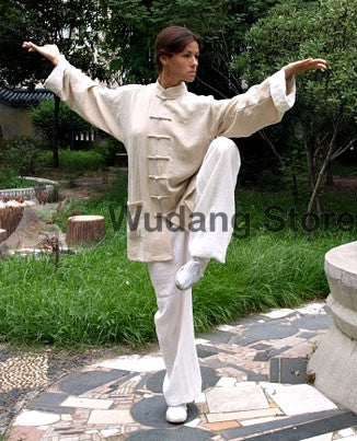 Beige Wing Chun Uniform with White Cuffs