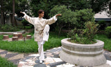 Beige Wing Chun Uniform with White Cuffs - Wudang Store