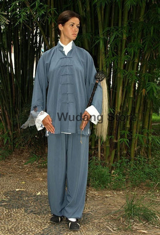 Blue Wing Chun Uniform with White Cuffs