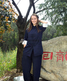 Blue & White Designer Tai Chi Suit with Cuffs - Wudang Store
