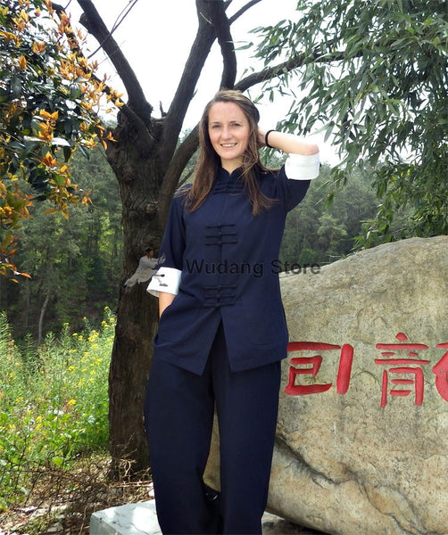 Blue & White Designer Tai Chi Suit with Cuffs
