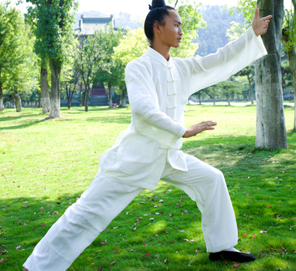 Handmade White Wudang Tai Chi Uniform Open Sleeves - Wudang Store