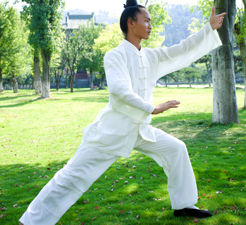 Handmade White Wudang Tai Chi Uniform Open Sleeves