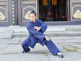 Handmade Navy Blue Wudang Taoist Tai Chi Suit Open Sleeves