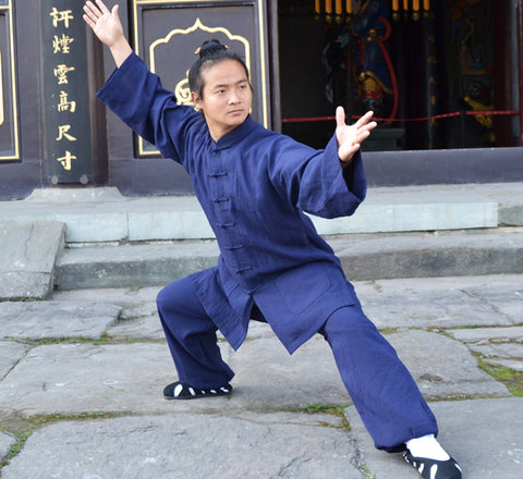 Handmade Navy Blue Wudang Taoist Tai Chi Suit Open Sleeves - Wudang Store