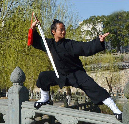 Handmade Black Tai Chi Suit Open Sleeves