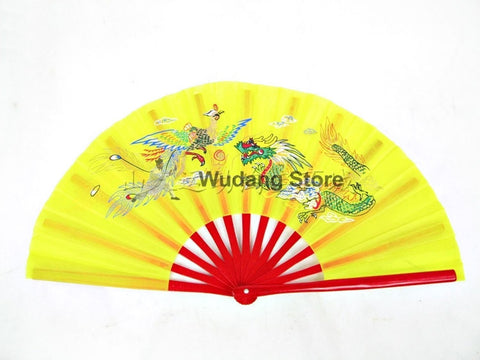 "Yellow Tai Chi Fan ""Dragon & Phoenix"" - Wudang Store"
