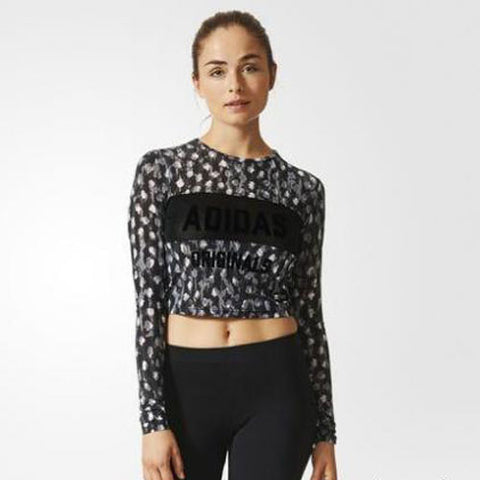 Last 10 x adidas Originals Womens Cropped Long Sleeved Top AJ7764 rrp£60 Only £11.99