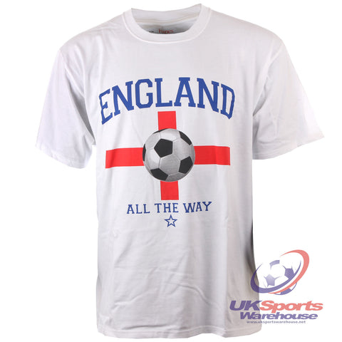 "140 x England ""All The Way"" Football Adults T-Shirts rrp£20 Only £1.99 each"
