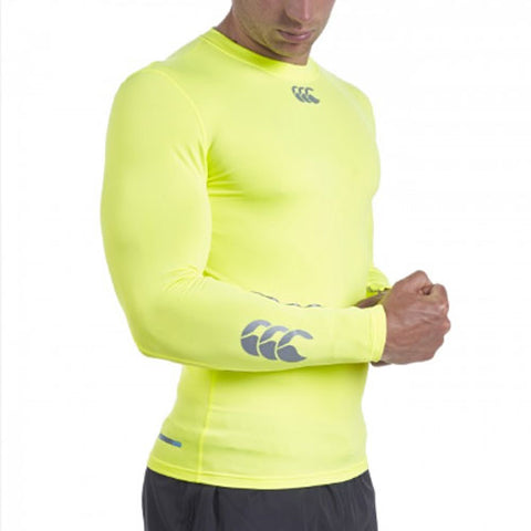 24 x Canterbury Mens Baselayer Long Sleeve Tops Rugby, Fitness, Football, Cycling Flouresent Yellow rrp£40 Only £9.19!!
