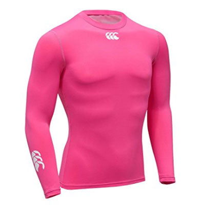 Last 16 x Canterbury Mens Baselayer Cold Rugby / Fitness / Running / Football Long Sleeve Tops - Bright Pink rrp£35 Only £8.39