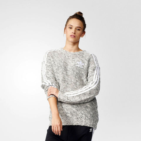 Last 13 x adidas Originals Womens Chunky Knit Trefoil Sweatshirt AY5247 rrp£75 Only £19.99