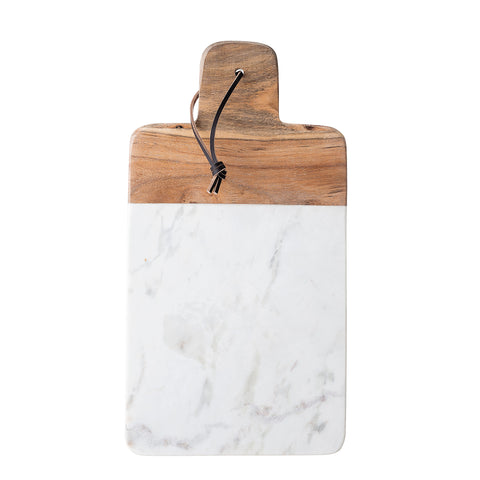 Luxe White Marble + Wood Chopping Board