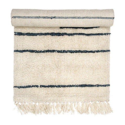 White Wool Runner Rug with Grey Stripes + Tassels