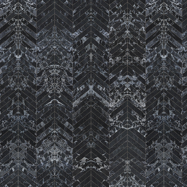 NLXL Materials Collection - PHM-55 Black Marble Herringbone Wallpaper by Piet Hein Eek