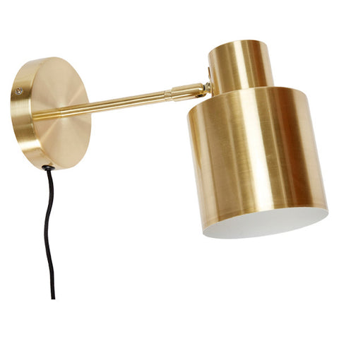 Hugo Wall Light in Brushed Brass (plug-in or hard-wire)