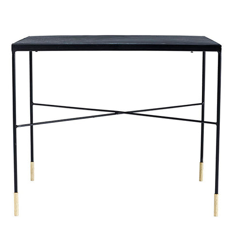 Black iron side table with brass tip legs - large