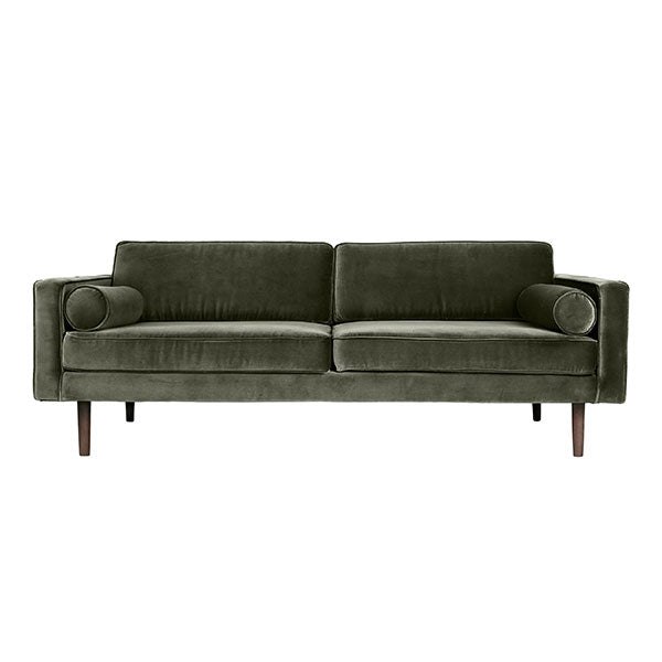 Velvet Sofa in Deep Sage Green