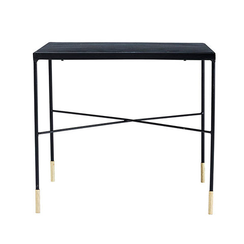 Black iron side table with brass tip legs - medium