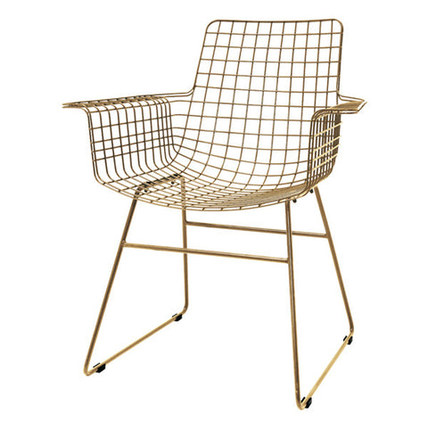 Modern Metal Armchair in Brass