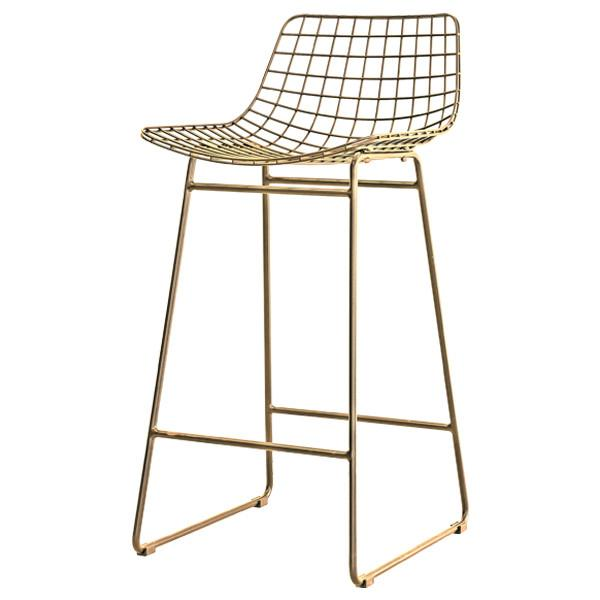 Wire Bar Stool in Brass - With or Without Seat Cushion (colour options available)