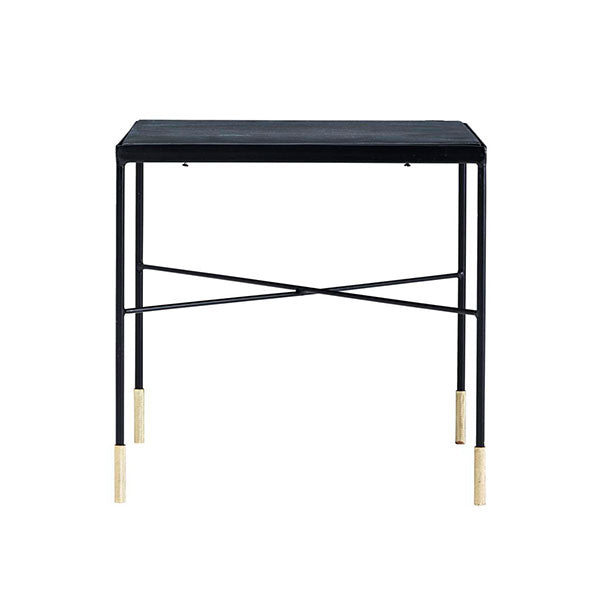 Black iron side table with brass tip legs - small