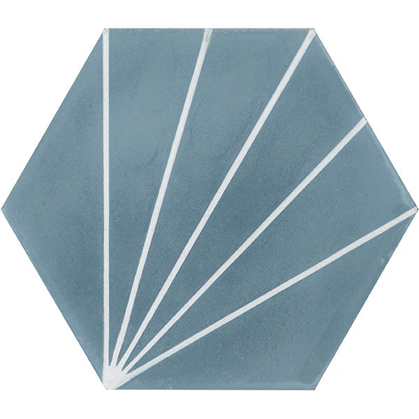 Dandelion Cement Tiles - Pigeon Blue + Pure White
