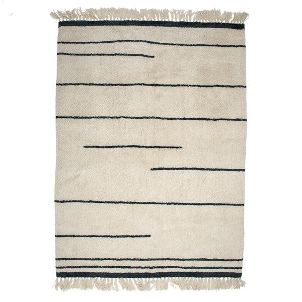 White Wool Rug with Grey Stripe + Tassel Detailing *as seen in Living Etc*