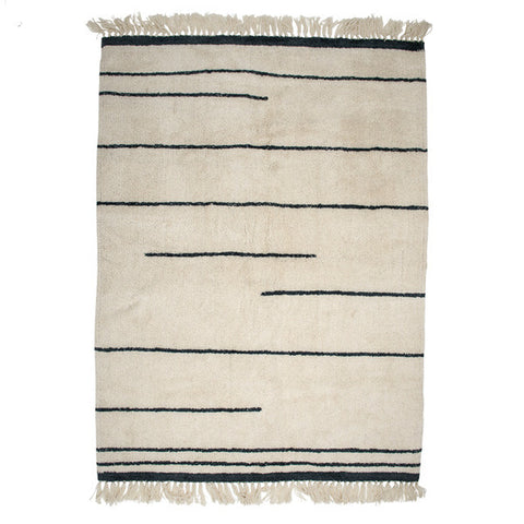 White Wool Rug with Grey Stripe + Tassel Detailing