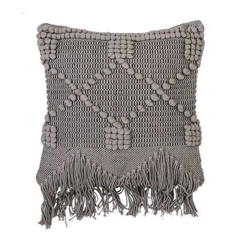 Balearic Knit + Tassel Cushion in Grey