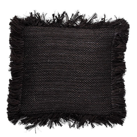 Jute Cushion - Black With Wide Fringe Detailing (with luxury feather inner)