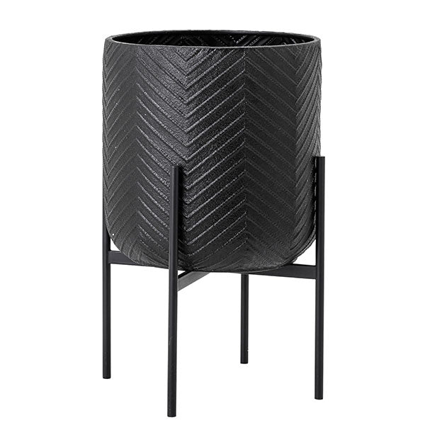 Floor Standing Planter - Black Metal With Chevron Design (66cm high)