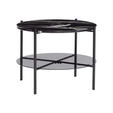 Varda Table - Black Marble + Glass