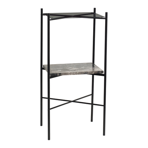 Varda Table - Black Marble + Glass (Tall - 90cm)