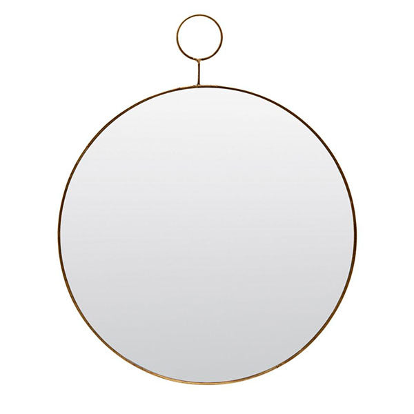 Loop - Circular Mirror With Brass Trim (Medium 32cm)