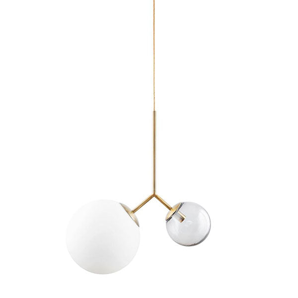 Margaux 1 - two-globe modern pendant light - brass and white/grey glass (as seen in House Beautiful Magazine)