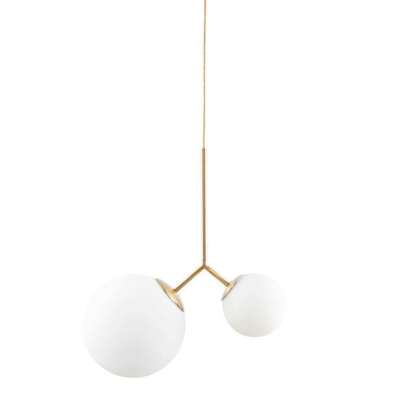 Margaux Pendant Light - Two Globe, Brass + White Glass