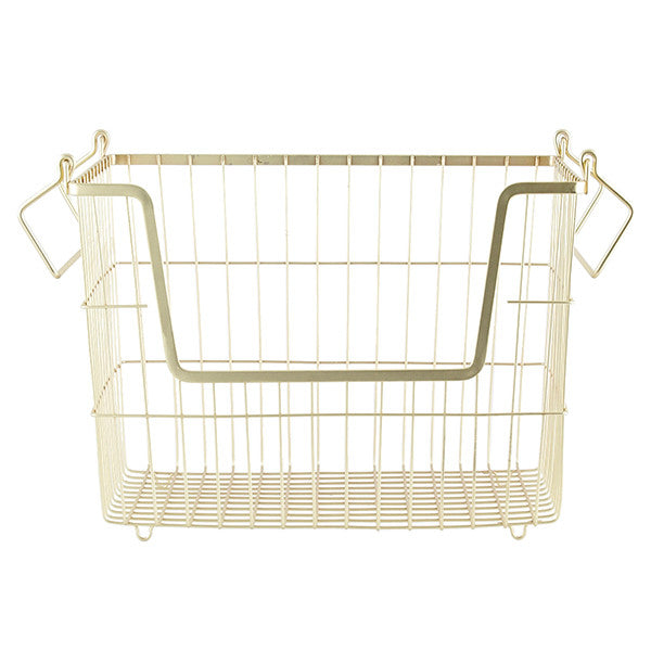 metal storage basket - matt gold