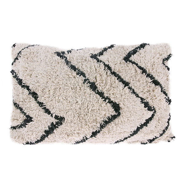 Berber Cushion - Soft White + Black (40 x 60cm)
