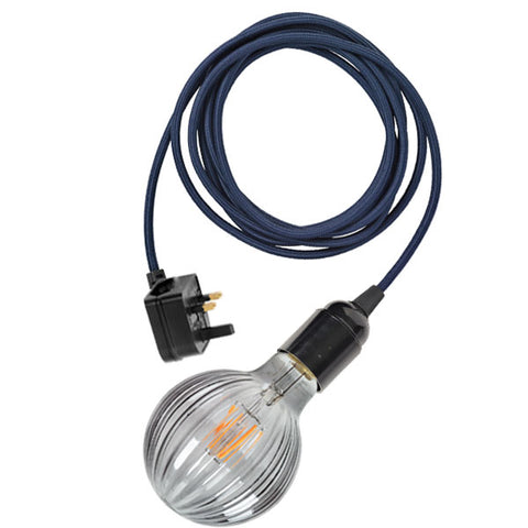 Plug-in light cable in denim blue with Frill LED bulb