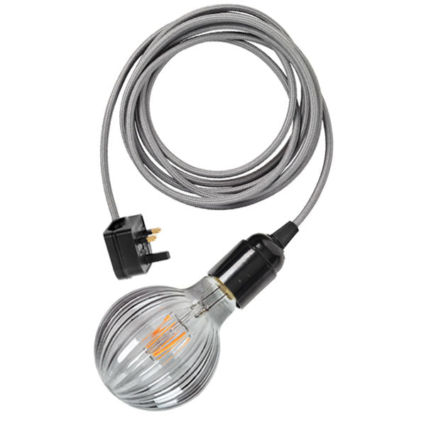 Plug-in light cable in steel grey with Frill LED bulb