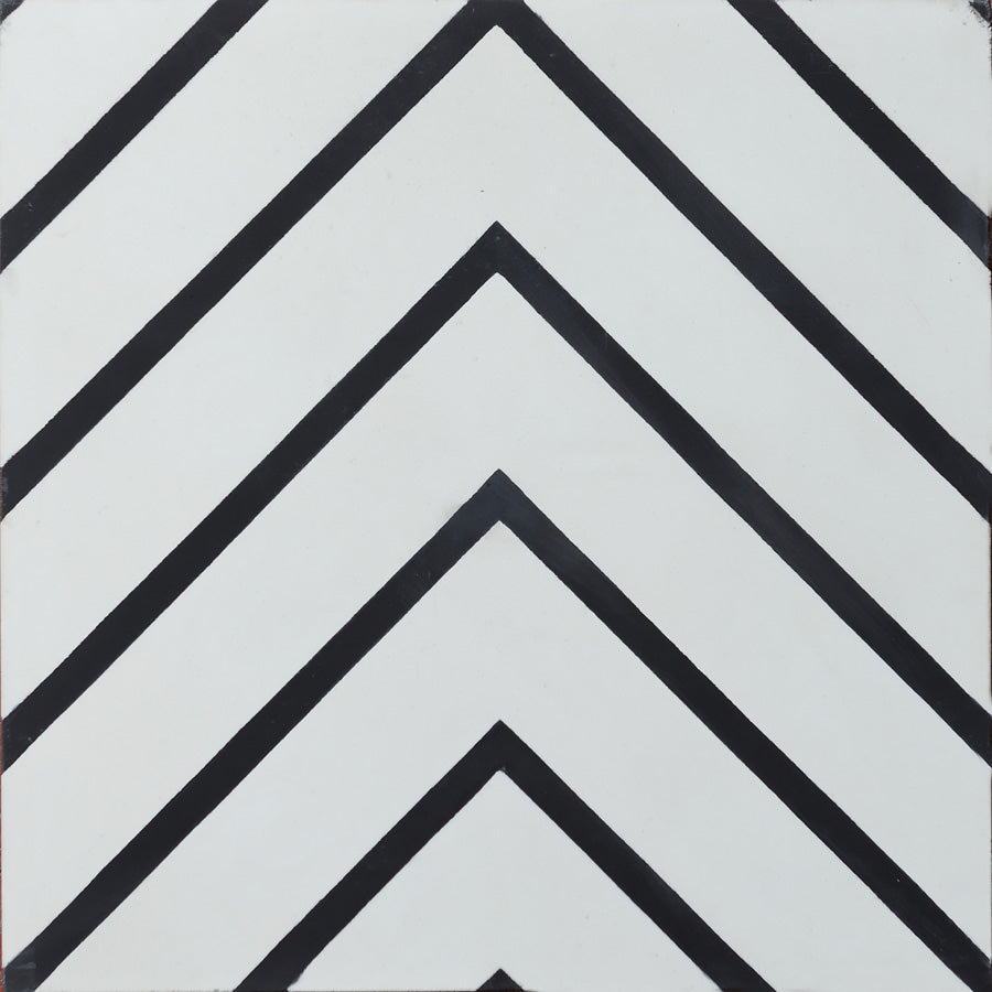 Goose Eye Cement Tiles - Pure White + Charcoal