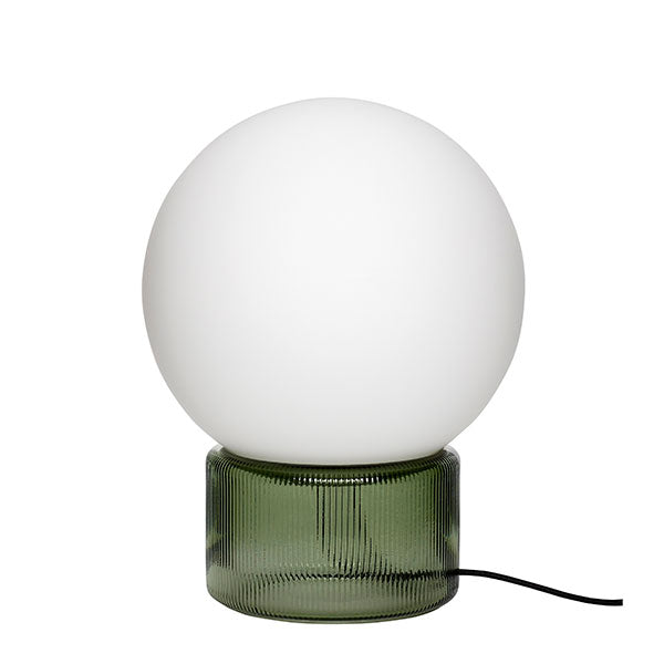 Scandic Table Lamp - White Globe + Green Fluted Glass