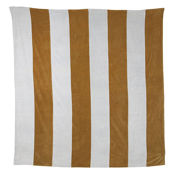 Luxe Velvet Bedspread - Striped Gold + Grey (Extra Large 260cm x 240cm)