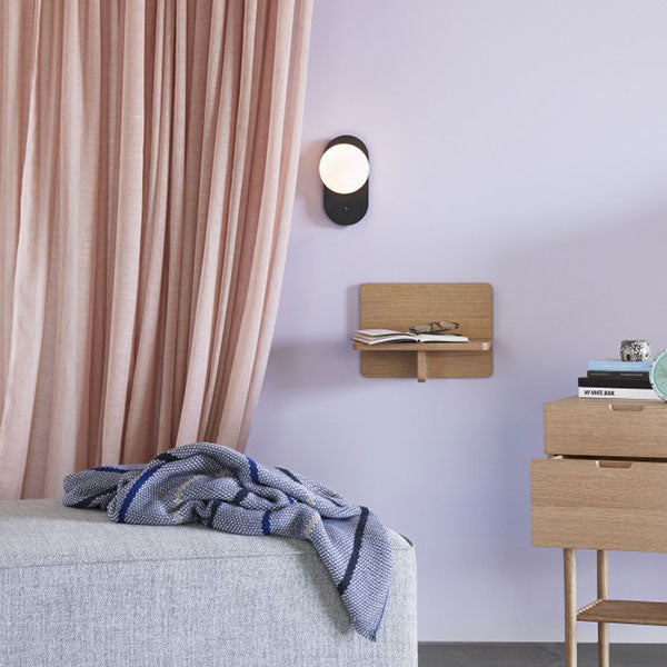 Mono Wall Light - Black with White Globe