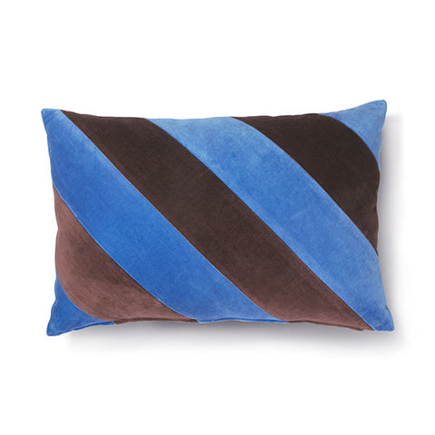 Velvet Cushion - Blue + Purple Diagonal Stripes (with luxury feather inner)