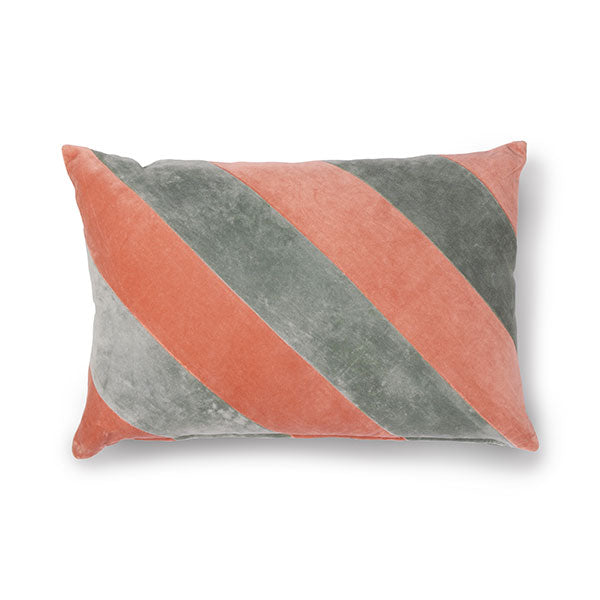 Velvet Cushion - Grey + Nude Pink Diagonal Stripes (with luxury feather inner)