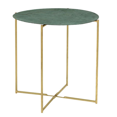 Side table in green and brass