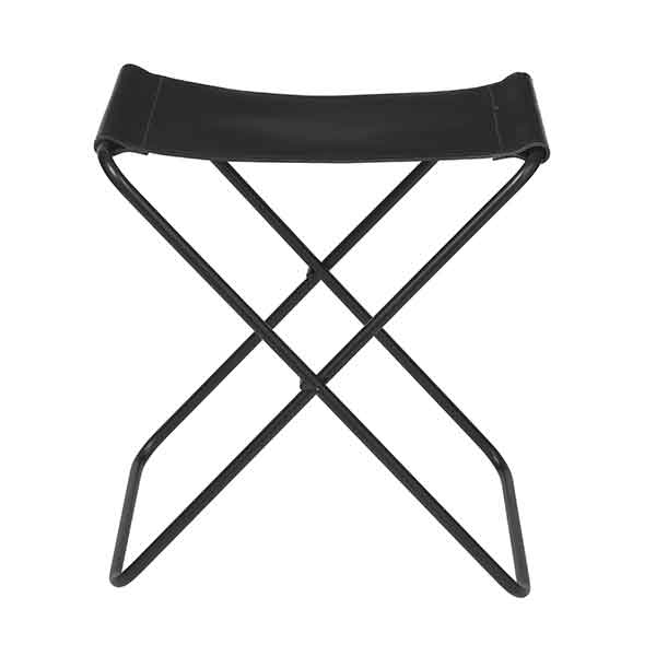 Iron Frame Stool with Black Leather Seat