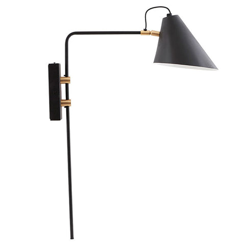 Nova Swing Arm Wall Light - Matt Black + Brass